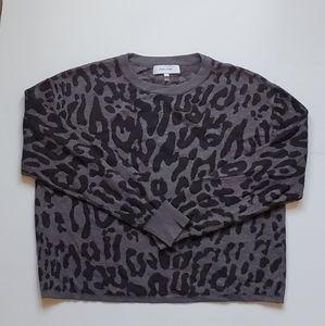 John + Jenn Animal Print Grey Sweater Small